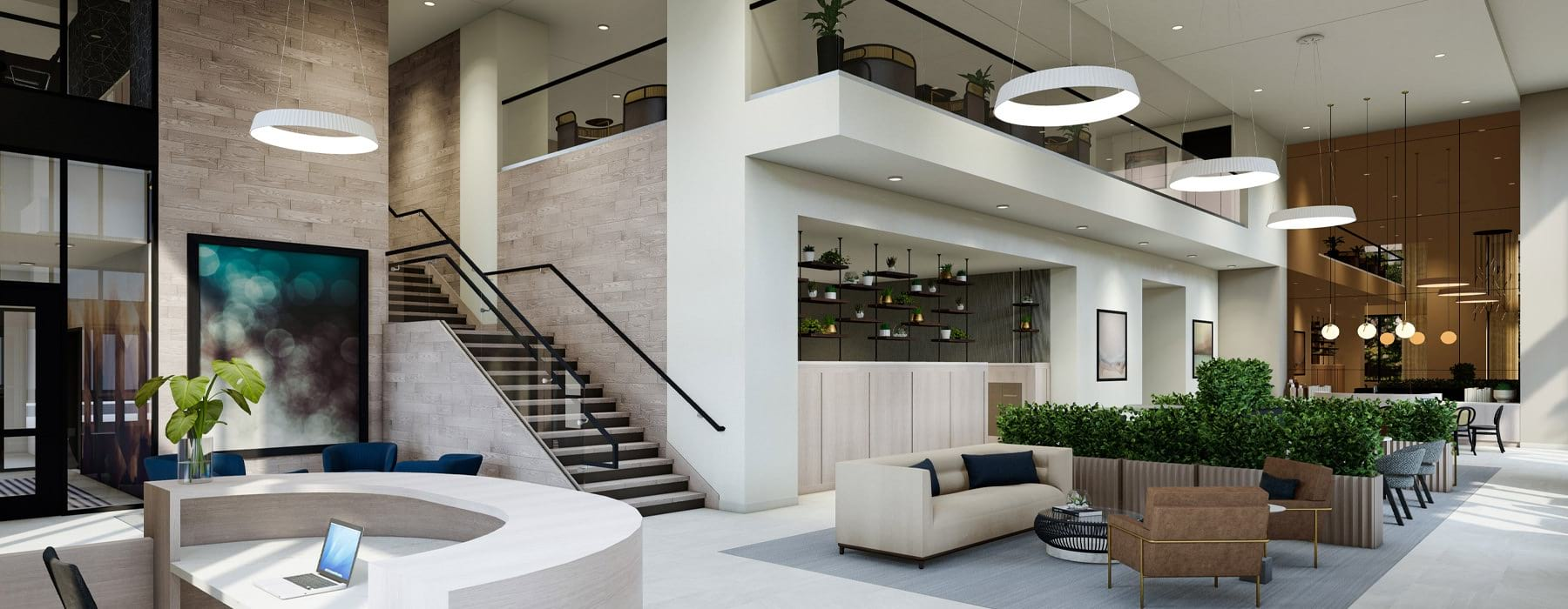 spacious lobby with two stories of lounge area and easy access to apartment homes